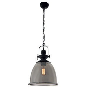BRIGHTSTAR METAL PENDANT WITH SMOKE COLOUR GLASS 1X60W/11W PEN597