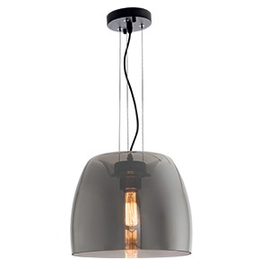 BRIGHTSTAR METAL PENDANT WITH SMOKE COLOUR GLASS 1X60W/11W PEN599