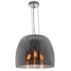BRIGHTSTAR POLISHED CHROME PENDANT WITH SMOKE COLOUR GLASS 3X60W/11W PEN600