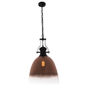 BRIGHTSTAR BLACK METAL PENDANT WITH FADED ROSE GLASS 1X60W(11W) PEN762