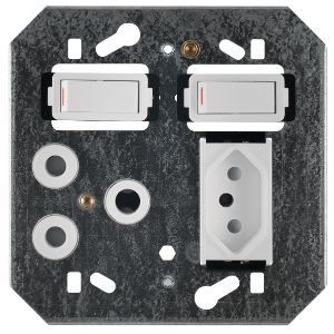 CRABTREE CLASSIC SWITCH SOCKET+YOKE 4x4 16A+EURO BLK  6859/008
