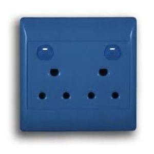 SCHNEIDER S2000 SWITCH SOCKET+COVER DEDICATED 16A 4x4 DOUBLE BLUE ST2025RDB