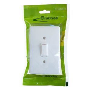 CRABTREE CLASSIC SWITCH +COVER 4x2 2LEVER 1WAY P/P WHITE 18011/6/601
