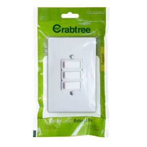 CRABTREE CLASSIC SWITCH +COVER 4x2 3LEVER 1WAY P/P WHITE 18012/6/601