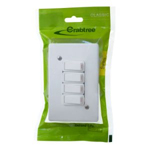 CRABTREE CLASSIC SWITCH +COVER 4x2 4LEVER 1WAY P/P WHITE 18013/6/601