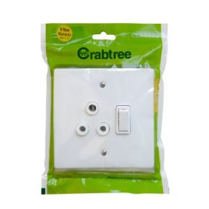 CRABTREE CLASSIC SWITCH SOCKET +COVER 4x4 16A SINGLE P/P WHITE 18060/6/601