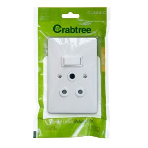 CRABTREE CLASSIC SWITCH SOCKET +COVER 4x2 16A VERTICAL P/P WHITE 18062/6/601