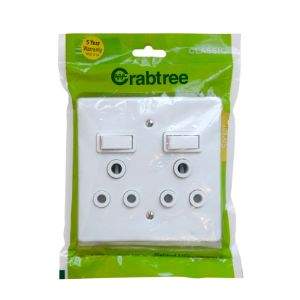 CRABTREE CLASSIC SWITCH SOCKET +COVER 4x4 16A DOUBLE P/P WHITE 18063/6/601