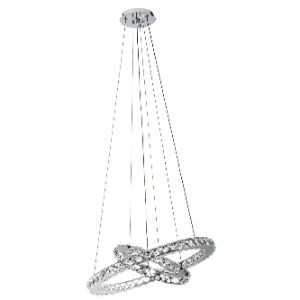 BRIGHTSTAR PENDANT FITTING 3X1W LED TWO RING+CRYSTAL PEN291