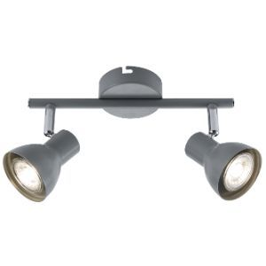 BRIGHTSTAR SPOLIGHT FITTING 2X50W GU10 255MM BAR METAL + CHROME S405/2 GREY