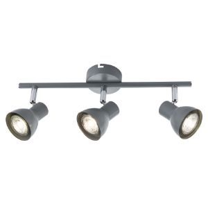 BRIGHTSTAR SPOLIGHT FITTING 2X50W GU10 385MM BAR METAL + CHROME S405/3 GREY