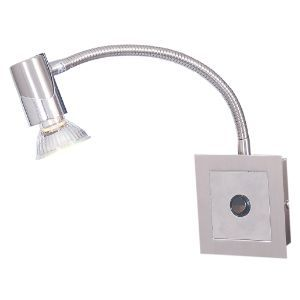 BRIGHTSTAR WALL LIGHT FITTING R50 E14 FLEXI ARM DOME POLISHED CHROME WB021 SATIN