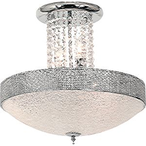 BRIGHTSTAR CEILING FITTING 5X40W E14 STIPPED GLASS CLEAR ACRYSTAL CF722/5 CHROME