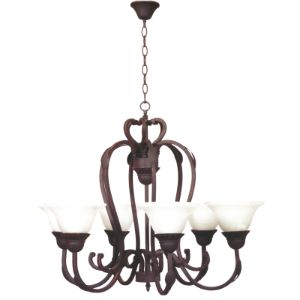 BRIGHTSTAR CHANDELIER 6X60W E27 WROUGHT IRON ALABASTER GLASS CH067/6 RUST
