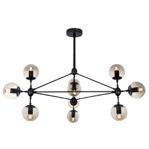 BRIGHTSTAR CHANDELIER 10X40W MATT METAL CHAMPGNE GLASS CH100/10 BLACK