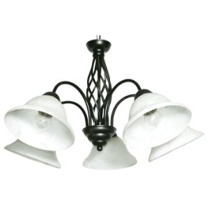 BRIGHTSTAR CHANDELIER 5X60W E27 METAL FROSTED GLASS CH1032/5 BLACK
